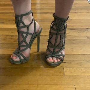 bebe olive green strappy sandal